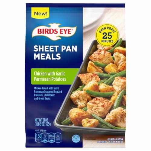 Birds Eye Sheet Pan Chicken With Garlic Parmesan Seasoned Potatoes Frozen Meal Perspective: front