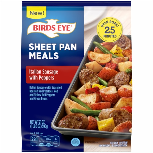 Birds Eye Sheet Pan Italian Sausage With Peppers Frozen Meal Perspective: front