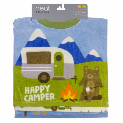 neat solutions Happy Camper Fiber Reactive Baby Bib Set Perspective: front