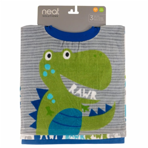 neat solutions Dinosaur Fiber Reactive Baby Bib Set Perspective: front