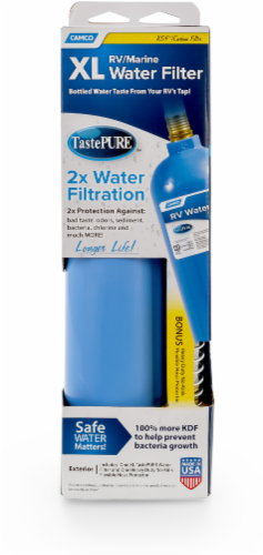 Camco TastePURE XL Recreational Vehicle Water Filter - Blue Perspective: front