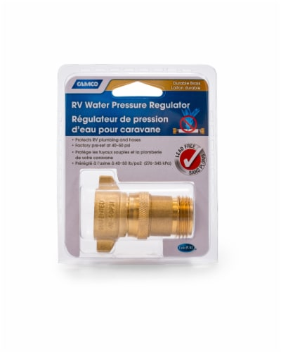 Camco RV Water Pressure Regulator - Brass Perspective: front