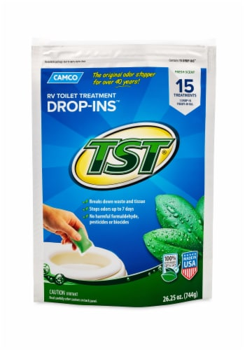 Camco TST Fresh Scent RV Toilet Treatment Drop-Ins - 15 Pack Perspective: front