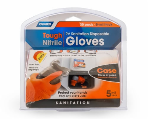 Camco Tough Nitrile Disposable RV Sanitation Gloves Perspective: front