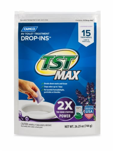 Camco TST Max Lavender RV Toilet Treatment Drop Ins Perspective: front
