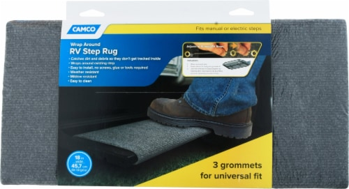 Camco Wrap Around RV Step Rug - Gray Perspective: front