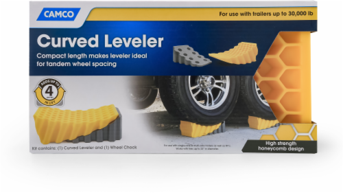 Camco Curved Leveler & Wheel Chock Kit Perspective: front