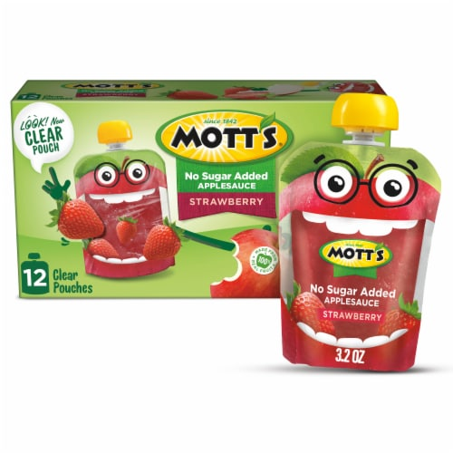 Mott's Unsweetened Strawberry Applesauce Pouches 12 Count Perspective: front
