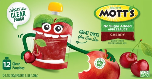 Mott's Unsweetened Cherry Applesauce Pouches 12 Count Perspective: front