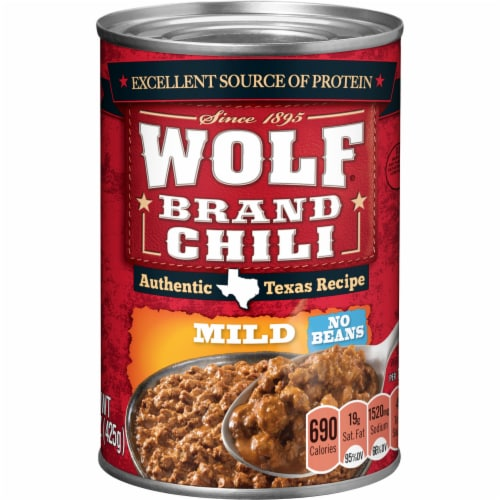 Wolf Brand Mild No Beans Chili Perspective: front