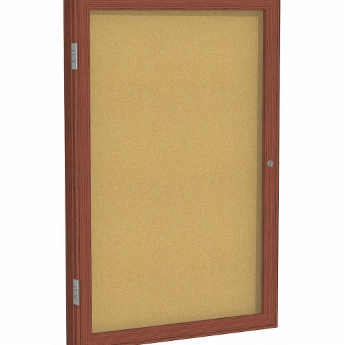 Ghent Enclosed Bulletin Board,Cork,36x24 In. Perspective: front