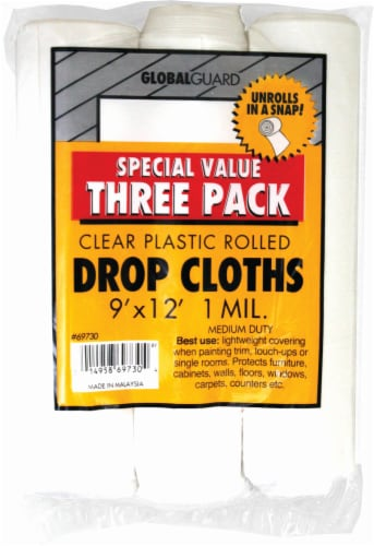Z-Pro Global Guard Clear Rolled Plastic Drop Cloth - 3 Pack Perspective: front