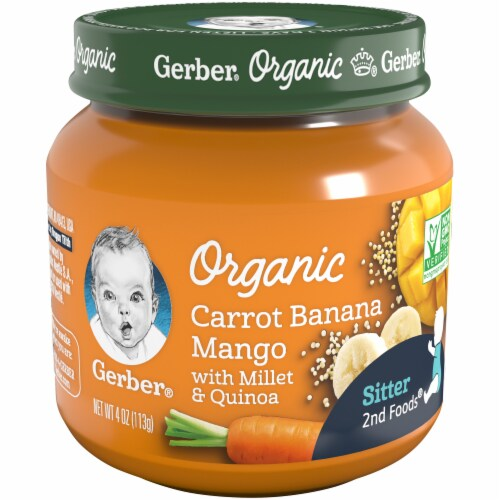 Gerber 2nd Foods Organic Carrot Banana Mango Stage 2 Baby Food Perspective: front