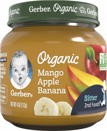 Gerber Organic Mango Apple Banana Stage 2 Baby Food Perspective: front