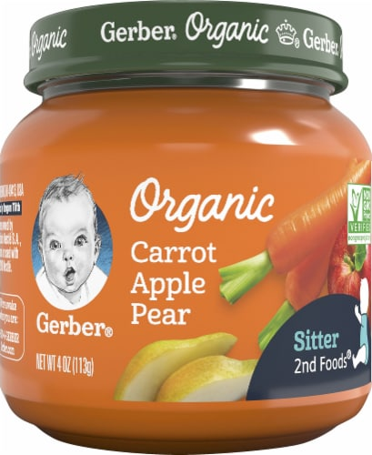 Gerber Organic Carrot Apple Pear 2nd Foods Baby Food Perspective: front