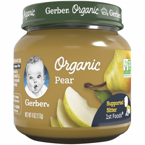 Gerber Organic 1st Foods Pear Stage 1 Baby Food Perspective: front