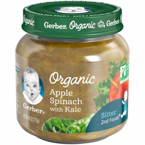 Gerber Organic 2nd Foods Apple Spinach with Kale Baby Food Perspective: front