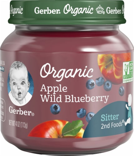 Gerber Organic 2nd Foods Apple Wild Blueberry Baby Food Perspective: front