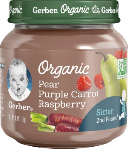 Gerber Organic 2nd Foods Pear Purple Carrot Raspberry Baby Food Perspective: front