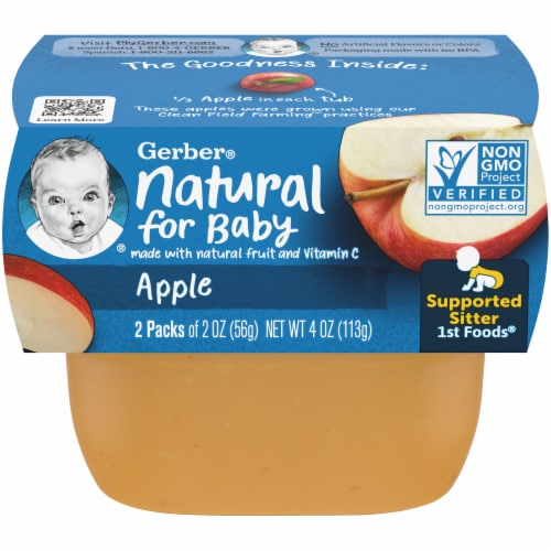Gerber 1st Foods Apple Baby Food 2 Count Perspective: front