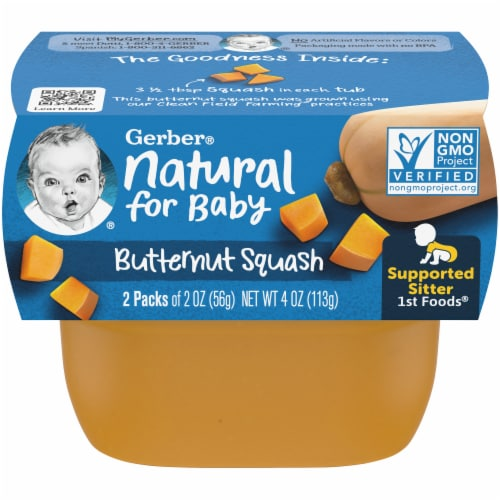 Gerber Butternut Squash Stage 1 Baby Food Perspective: front