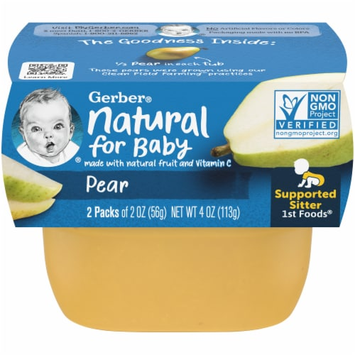Gerber Pear Stage 1 Baby Food Perspective: front