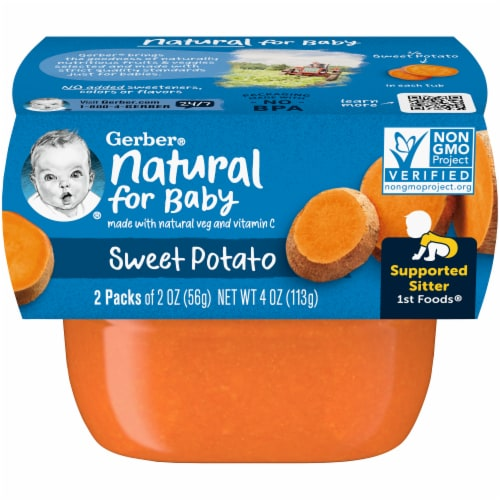 Gerber Sweet Potato Stage 1 Baby Food 2 Count Perspective: front