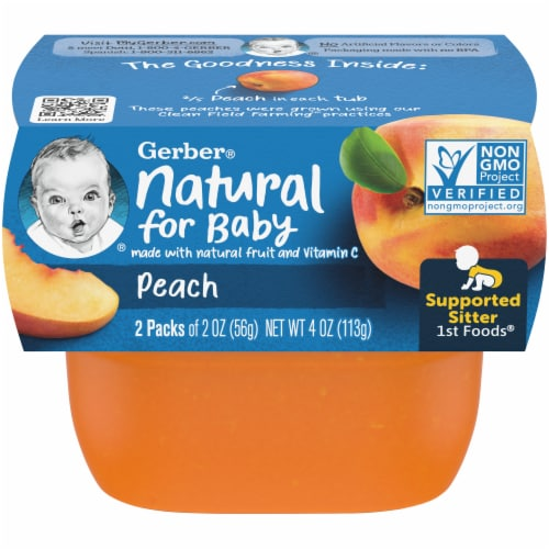 Gerber Peach Stage 1 Baby Food Perspective: front