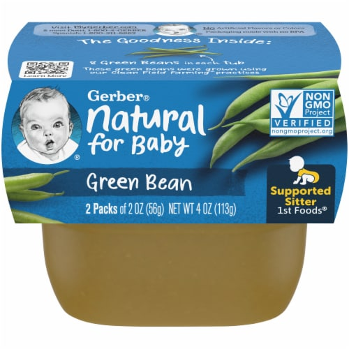 Gerber Green Bean Stage 1 Baby Food Perspective: front