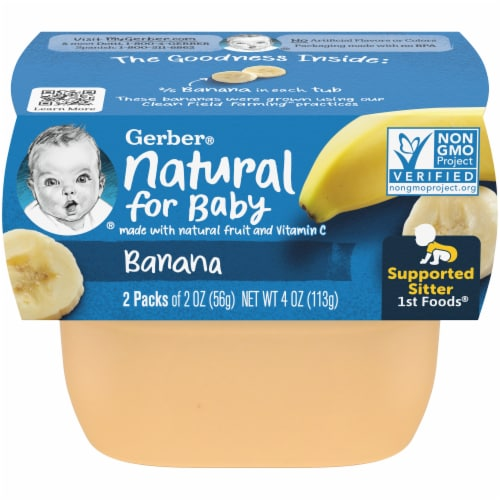 Gerber Banana Stage 1 Baby Food Perspective: front