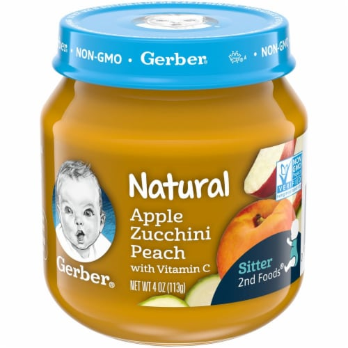 Gerber 2nd Foods Natural Apple Zucchini Peach Baby Food Perspective: front