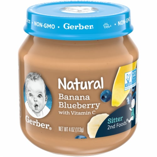 Gerber 2nd Foods Banana Blueberry Stage 2 Baby Food Perspective: front