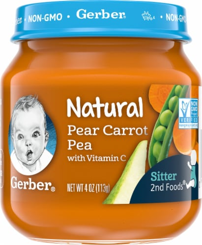 Gerber 2nd Foods Natural Pear Carrot Pea Baby Food Perspective: front