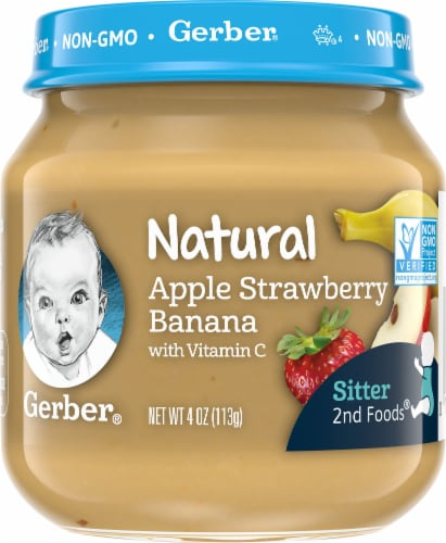 Gerber 2nd Foods Natural Apple Strawberry Banana Stage 2 Baby Food Perspective: front