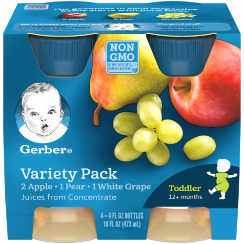 Gerber Apple Pear and White Grape Toddler Fruit Juice Variety Pack Perspective: front