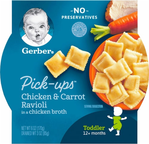 Gerber Toddler Pick-Ups Chicken & Carrot Ravioli Pasta Baby Food Perspective: front