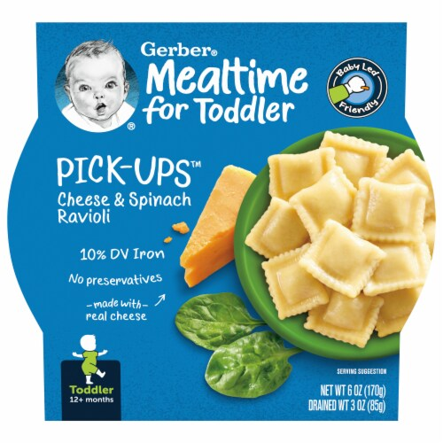 Gerber Pick-ups Cheese & Spinach Ravioli Toddler Meal Perspective: front