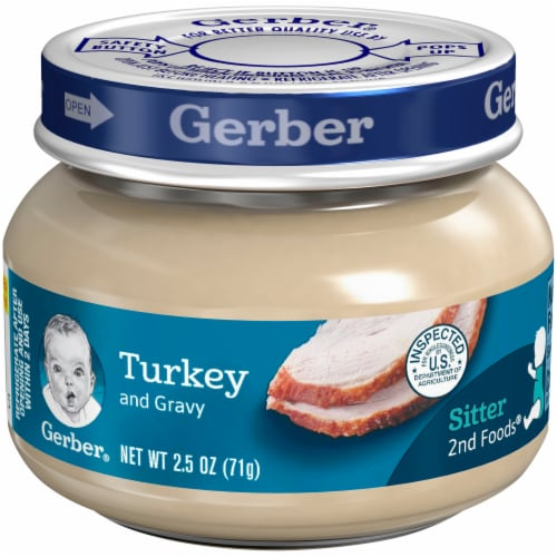 Gerber 2nd Foods Turkey and Gravy Baby Food Perspective: front