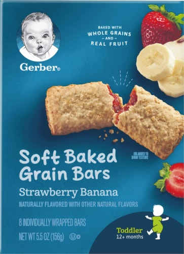 Gerber Toddler Strawberry Banana Soft Baked Grain Bars Perspective: front