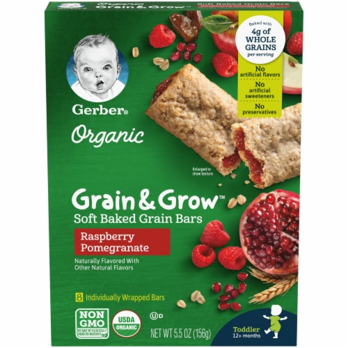 Gerber Organic Grain & Grow Raspberry Pomegranate Soft Baked Grain Bars Perspective: front
