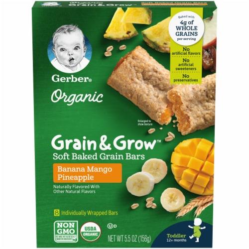 Gerber Organic Toddler Grain & Grow Banana Mango Pineapple Soft Baked Bars Perspective: front