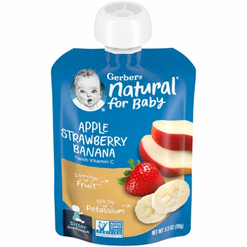 Gerber Apple Strawberry Banana Stage 2 Baby Food Perspective: front