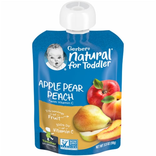 Gerber Apple Pear Peach Toddler Baby Food Perspective: front