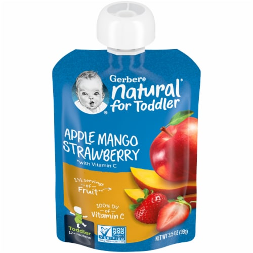 Gerber Apple Mango Strawberry Toddler Baby Food Perspective: front