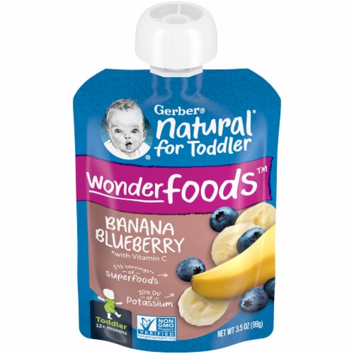 Gerber Banana Blueberry Toddler Baby Food Perspective: front