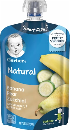 Gerber Banana Pear Zucchini Toddler Baby Food Pouch Perspective: front