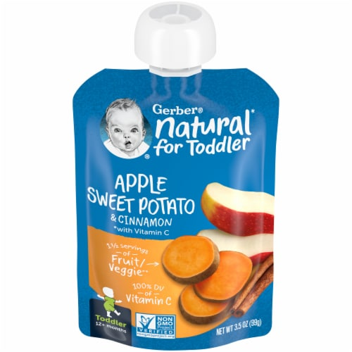 Gerber Apple Sweet Potato with Cinnamon Toddler Baby Food Pouch Perspective: front