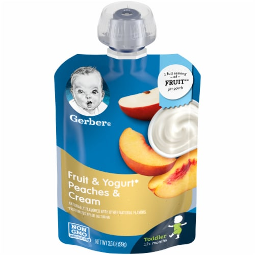 Gerber Toddler Fruit & Yogurt Peaches & Cream Pouch Perspective: front