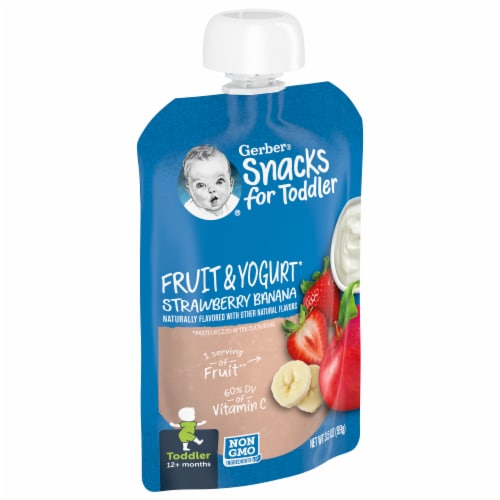 Gerber Toddler Fruit & Yogurt Strawberry Banana Food Pouch Perspective: front