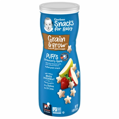 Gerber Crawler Puffs Strawberry Apple Cereal Snack Perspective: front